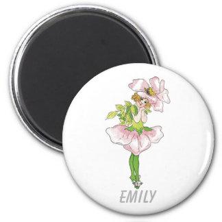 Imã Menina bonito engraçada floral da flor cor-de-rosa