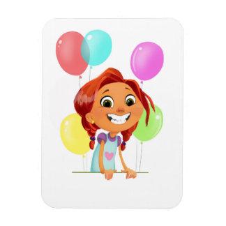 Ímã Menina cartoony bonito com balões que sorri na