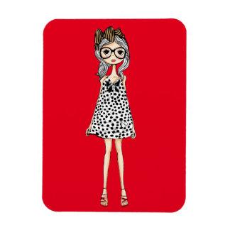 Ímã Menina inábil bonito em seu vestido das bolinhas