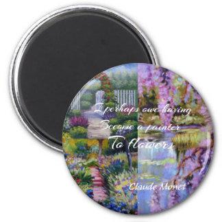 Imã Mensagem de Monet sobre flores