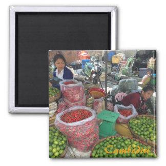 Imã Mercado cambojano - pimentas e limões de pimentão