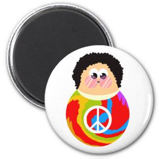 Imã miúdo engraçado da paz dos desenhos animados da