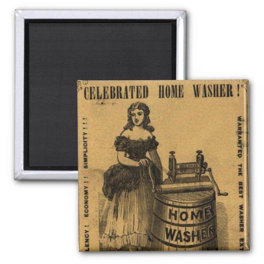 Imã Moça e máquina de lavar em propaganda antiga