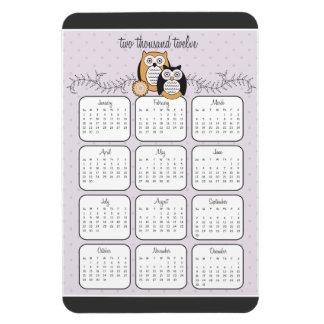 Ímã moderno do calendário das corujas 2012 foto com ímã retangular