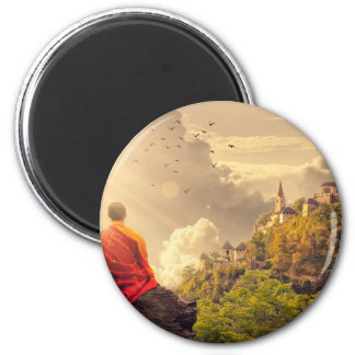 Imã Monge Meditating antes do grande templo