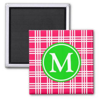 Imã Monograma cor-de-rosa e verde do verão da