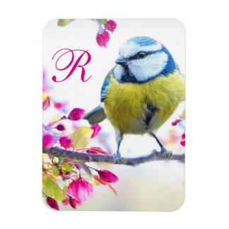 Ímã Monograma do pássaro & da flor