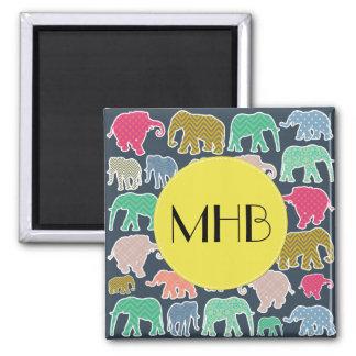 Imã Monograma - elefantes, bolinhas, ziguezague,