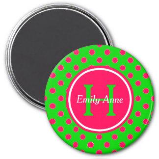 Imã Monograma verde e cor-de-rosa do verão das
