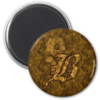 Ímã Monogrammed da peônia do ouro da inicial B Ímã Redondo 5.08cm