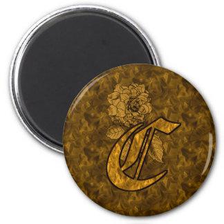 Ímã Monogrammed da peônia do ouro da inicial C Ímã Redondo 5.08cm
