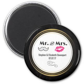 Imã Moustache & lábios Sr. & Sra. Preto & casamento do