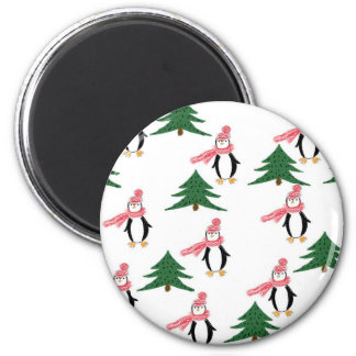 Imã Muffin do pinguim do Natal