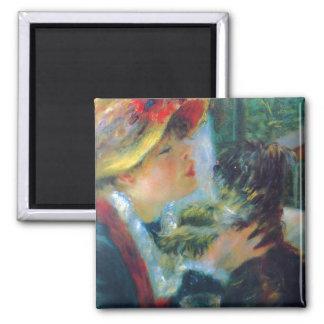 Imã Mulher com suas belas artes de Renoir do cão
