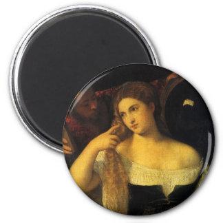 Imã Mulher com um espelho por Titian, renascimento do