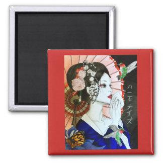 Imã Mulher japonesa bonita de Handrawn com borboleta