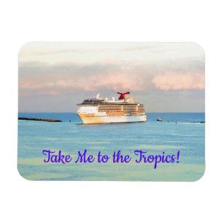 Ímã Nascer do sol tropical Pastel e navio de cruzeiros