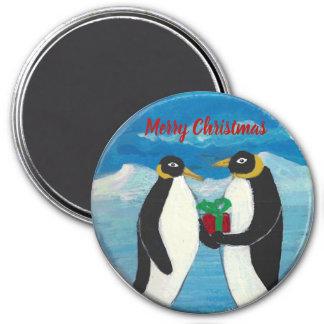 Imã Natal B grande, ímã redondo do pinguim de 3