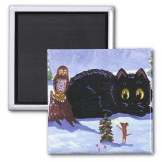 Imã Natal engraçado Creationarts da coruja do rato do