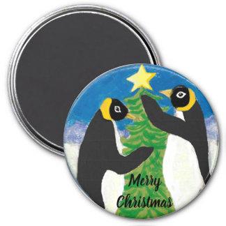 Imã Natal grande, ímã redondo do pinguim de 3