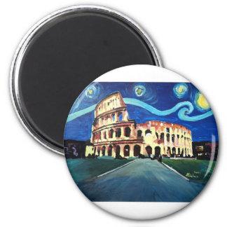Imã Noite estrelado sobre Colloseum em Roma Italia