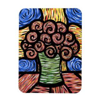 Ímã O abstrato moderno floresce cores brilhantes
