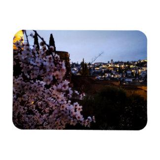 Ímã O Albayzin de Granada visto da amêndoa do Alhambra