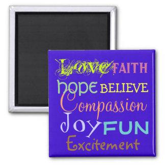 Imã o amor, alegria, fé, acredita cores de
