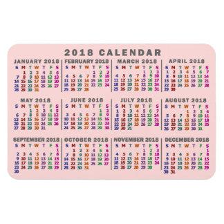 Ímã O calendário mensal de 2018 anos cora colorido