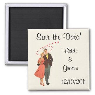 Imã O casamento vintage, corações românticos salvar a