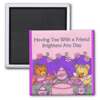 Imã O chá com amigo ilumina ursos de Magnet~Teddy do