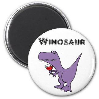 Imã O dinossauro engraçado com vinho é um Winosaur