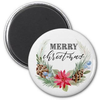 "Imã O ""Feliz Natal"" circunda o ímã, grinalda do Natal"