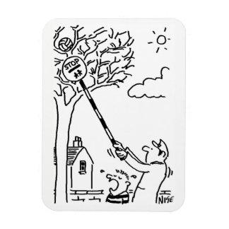 Ímã O homem do pirulito salva uma bola em uma árvore
