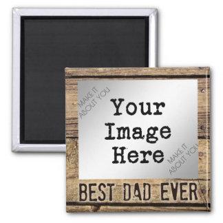 Imã O melhor pai nunca na foto Madeira-Moldada rústica