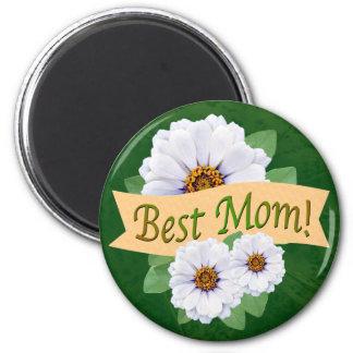 Imã O melhor prêmio da mamã com Zinnias brancos
