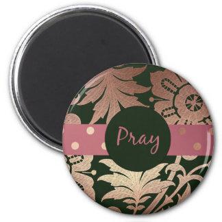 Imã O ouro preto e cor-de-rosa floral PRAY