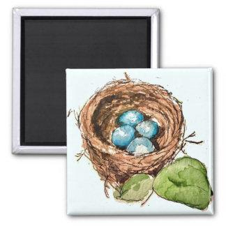 Imã O pisco de peito vermelho bonito da aguarela eggs