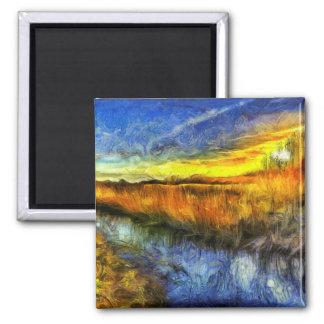Imã O rio Van Gogh do por do sol