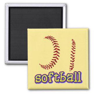 Imã O softball vermelho do brilho do falso costura o