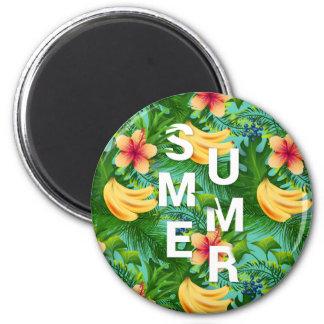 Imã O texto tropical do verão na banana floresce o
