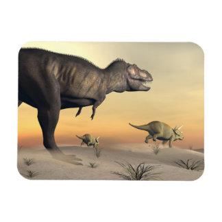 Ímã O Triceratops que escapa dos tiranossauros 3D