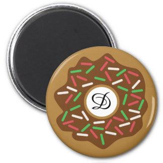 Imã O verde vermelho da rosquinha do Natal de Kawaii