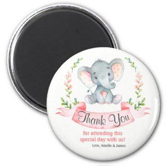 Imã Obrigado da menina do elefante da aguarela você