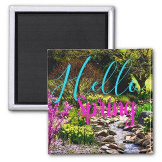 Imã Olá! ímã floral do jardim do primavera