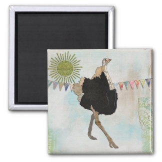 Ímã ornamentado da luz do sol da avestruz ímã quadrado