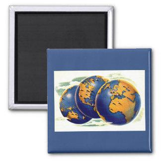 Imã os anos 40 como o mundo giram três vistas da terra