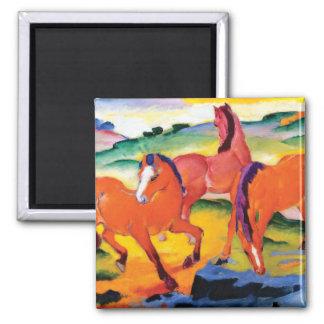 Imã Os cavalos vermelhos por Franz Marc