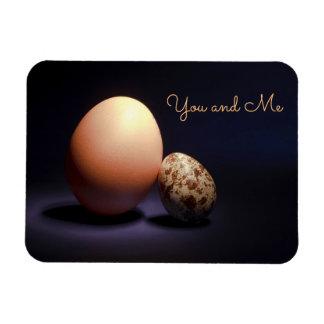 """Ímã Ovos da galinha e de codorniz no amor. Texto """"você"""