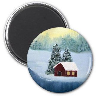 Imã Paisagem congelada paz das árvores do rio da neve